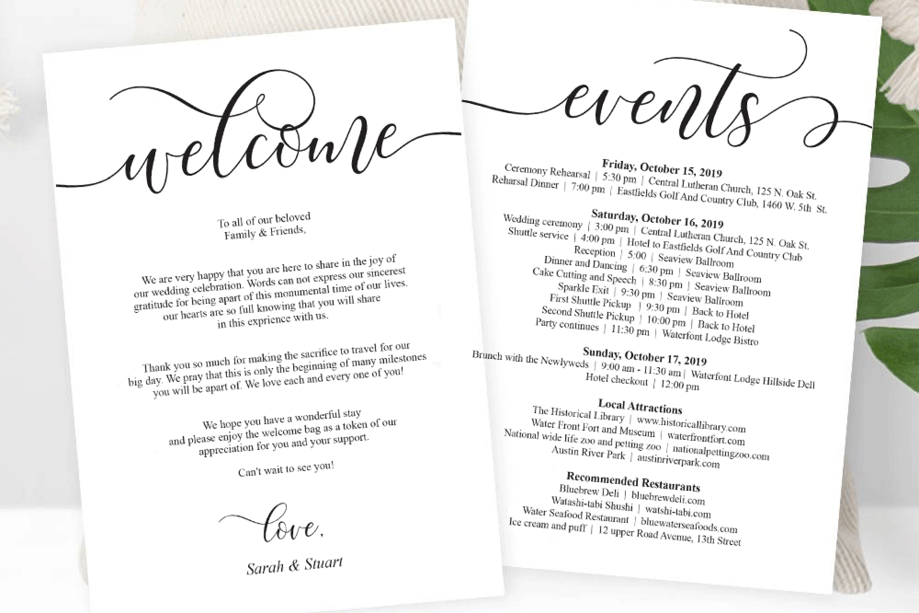 Wedding Welcome and Itinerary card, editable PDF template example image 2