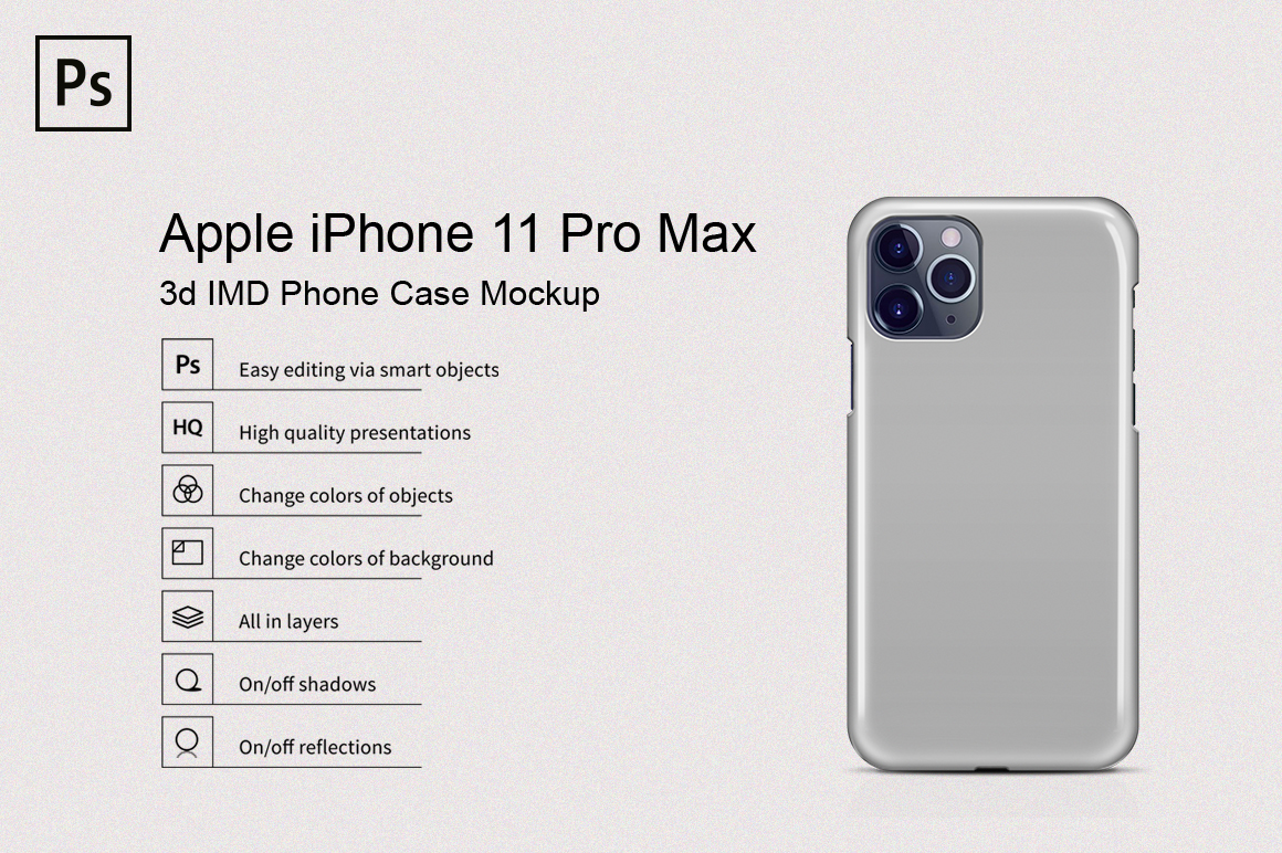 Apple iPhone 11 Pro Max 3d IMD Phone Case Mockup Back View example image 1