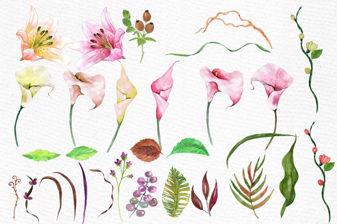 Watercolor floral clip art example image 2