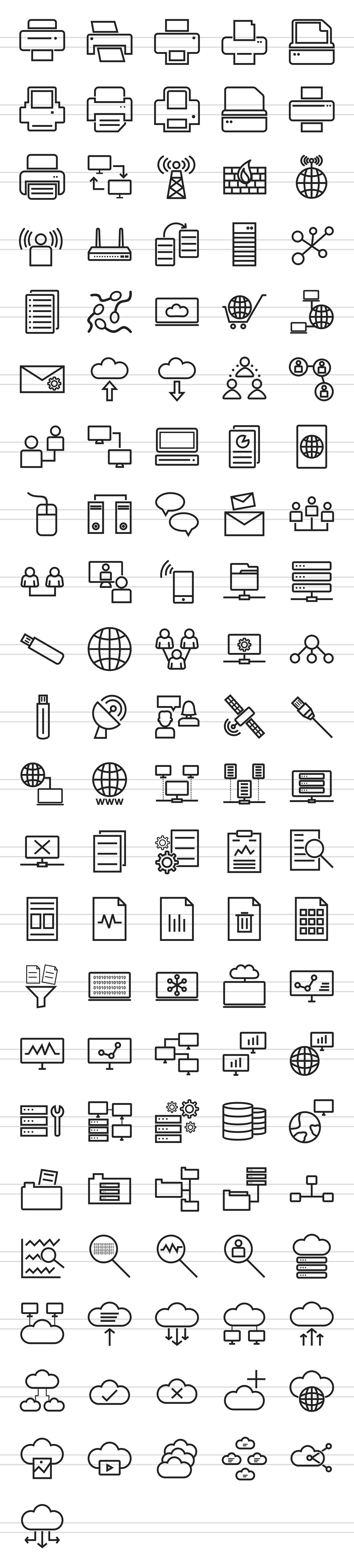 111 Networking & Printers Line Icons example image 2