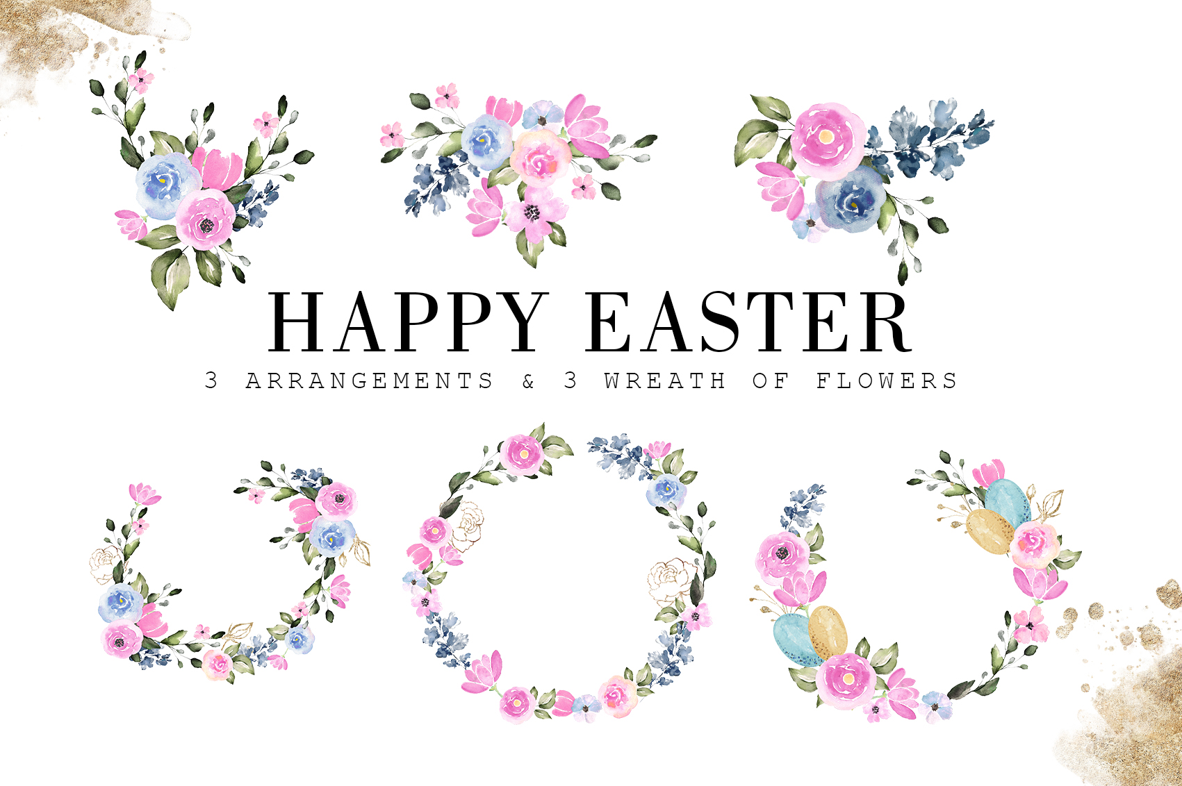 Happy Easter|Watercolor Elements clipArt example image 4