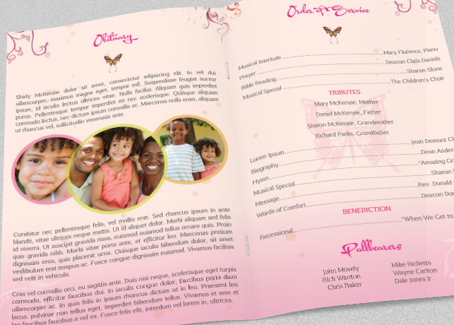Pink Floral Funeral Program Template example image 3