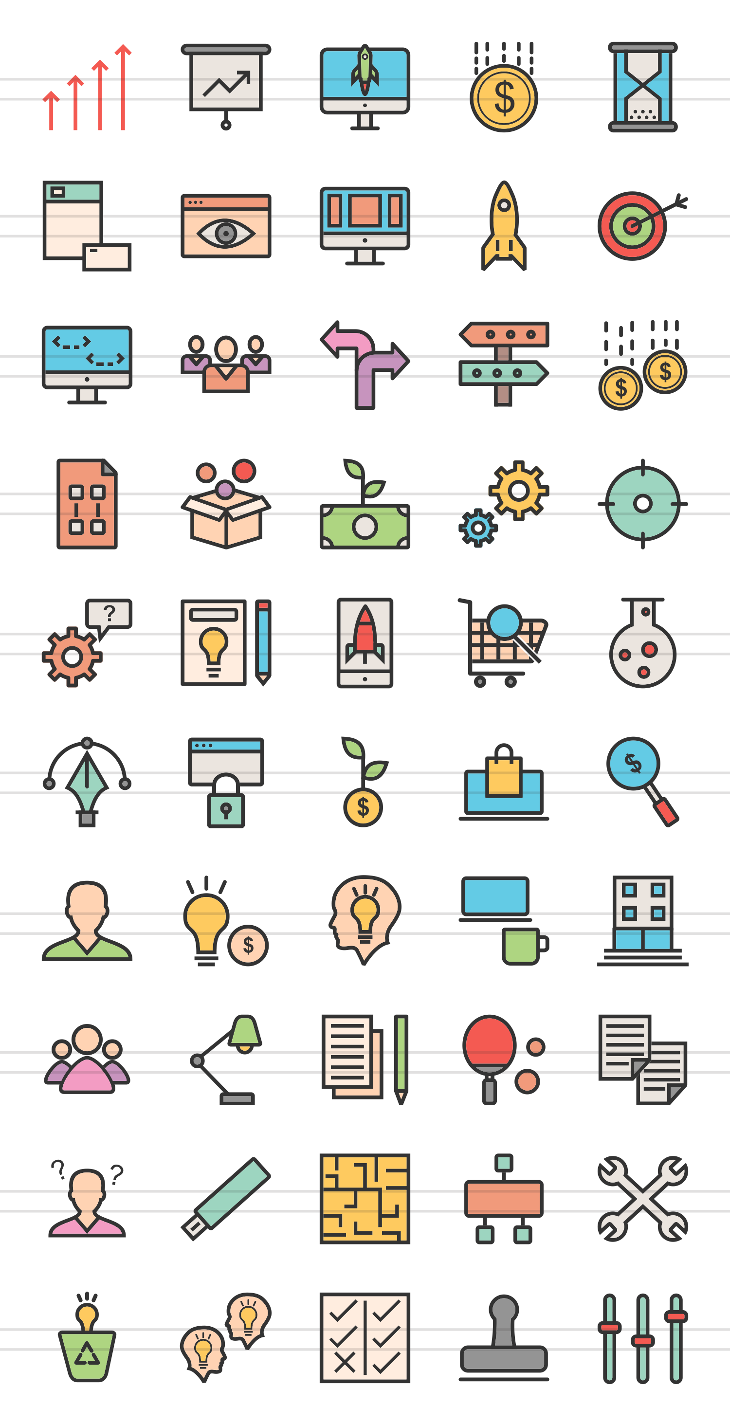 50 Startup Linear Multicolor Icons example image 2