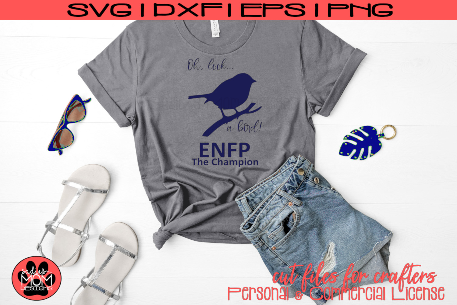 Oh Look A Bird - Myers Briggs - ENFP Champion - SVG Cut File example image 1