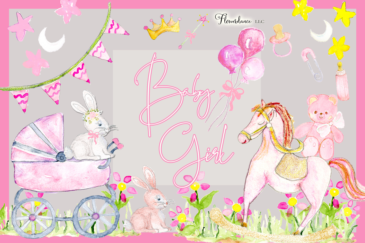Watercolor Baby Girl Clipart example image 3