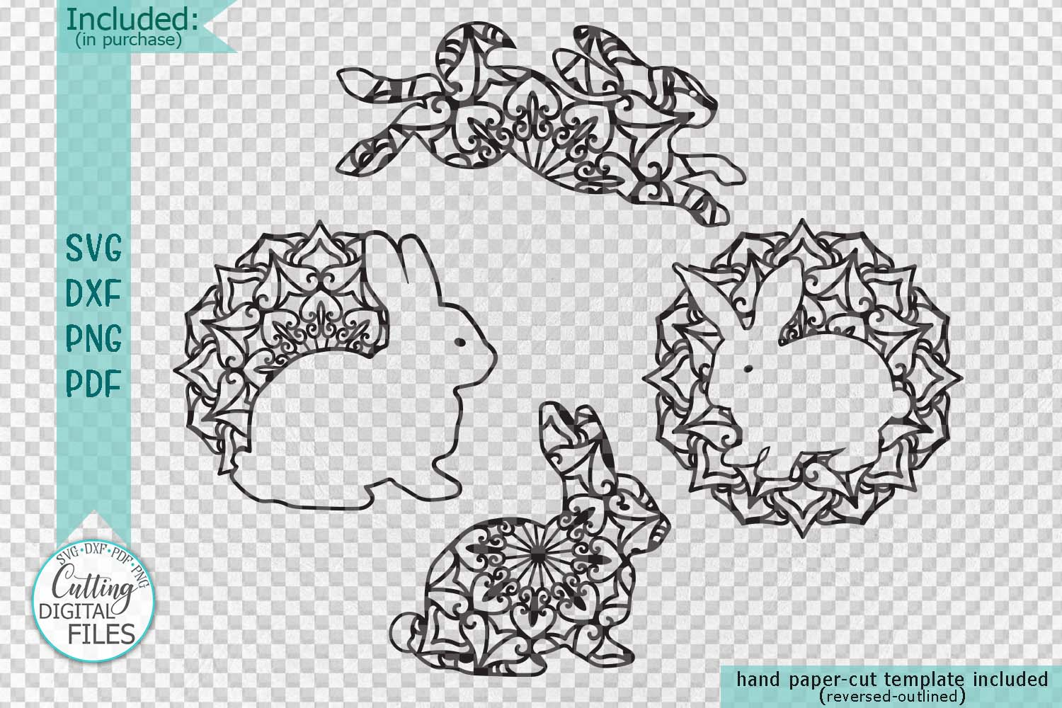 Mandala Easter bunnies cut out set svg dxf pdfcutting files example image 2