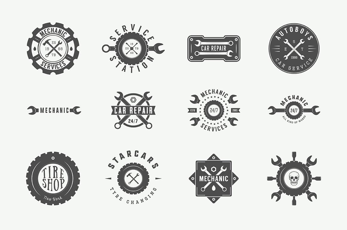 Mechanic and Car Repair Emblems Bundle example image 9