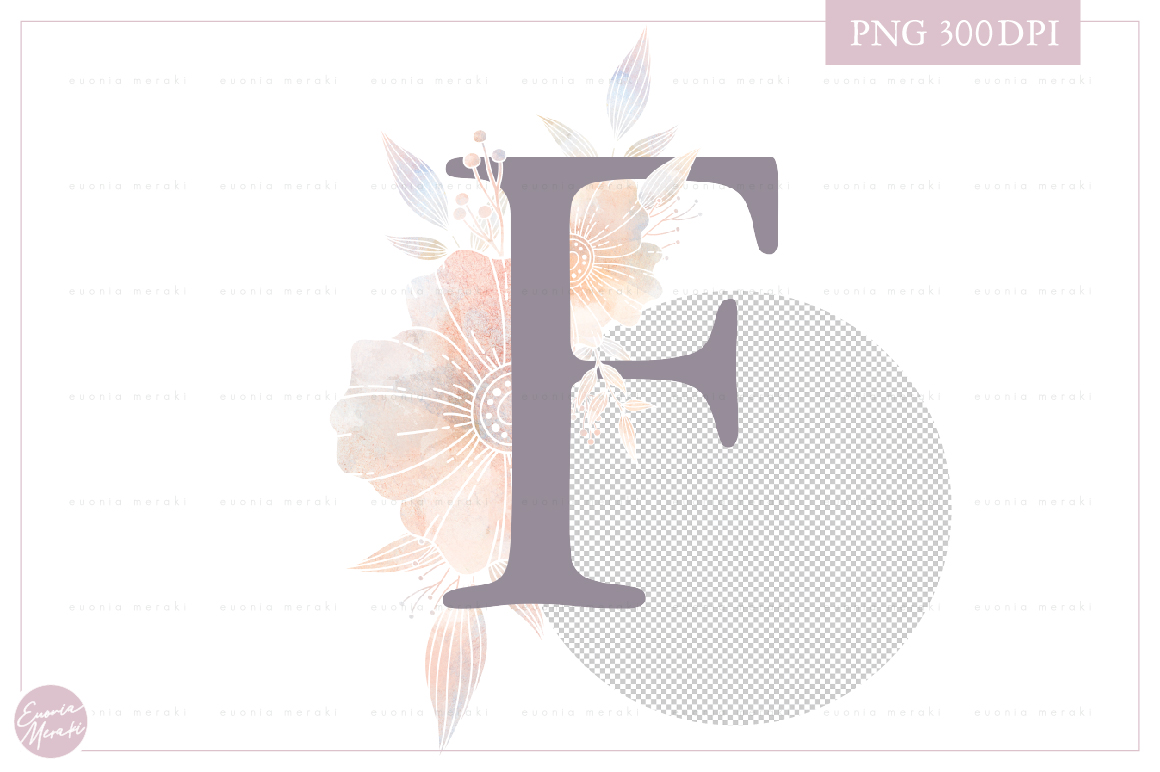MONOGRAM Letter F Floral Wedding Monogram - Flower alphabet example image 2