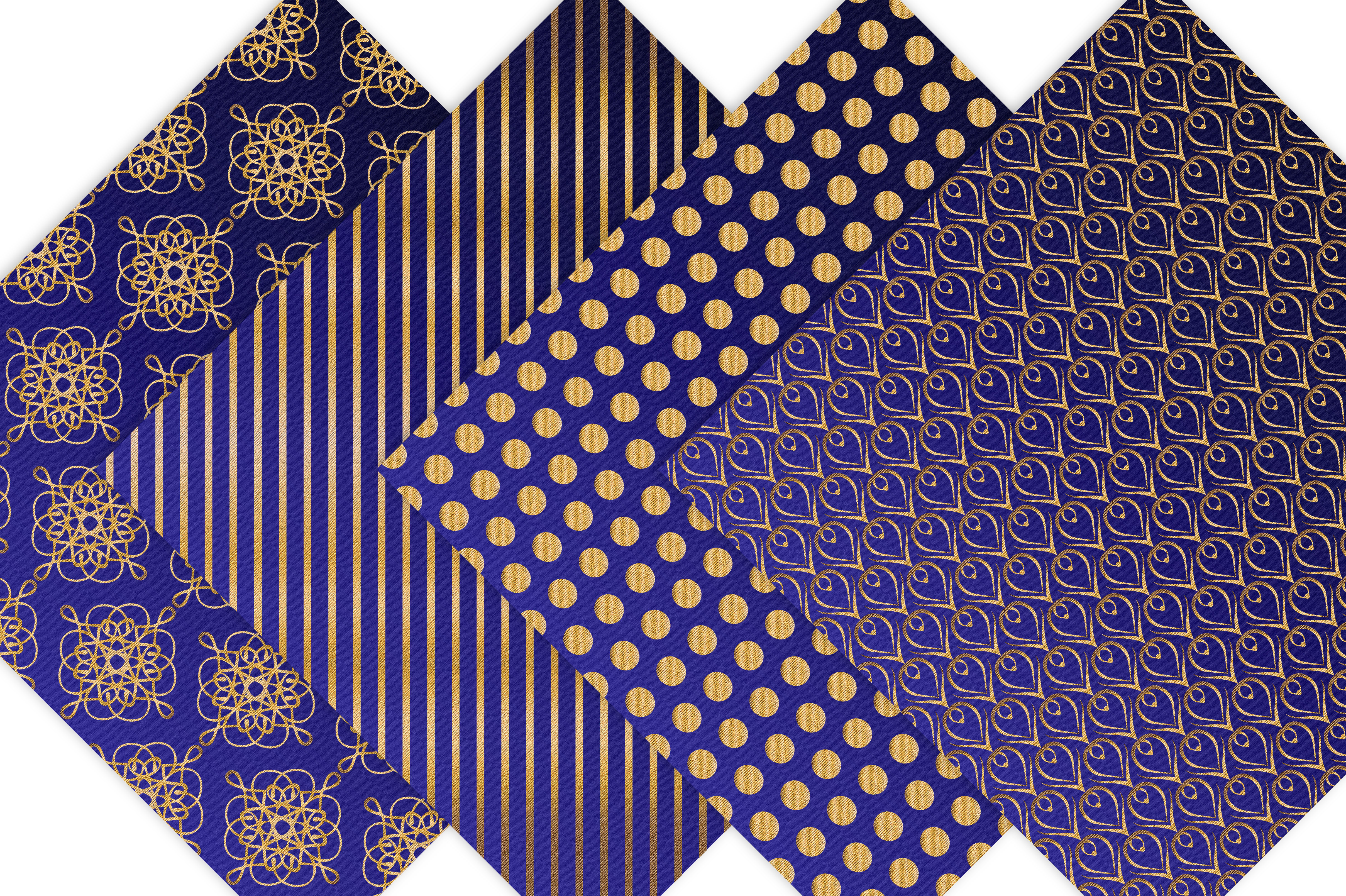 Royal Blue and Gold Digital Backgrounds example image 3