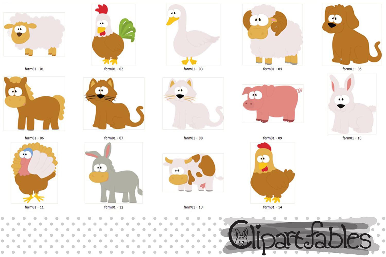 Farm clip art set, Barnyard clipart, cute farm animals example image 2