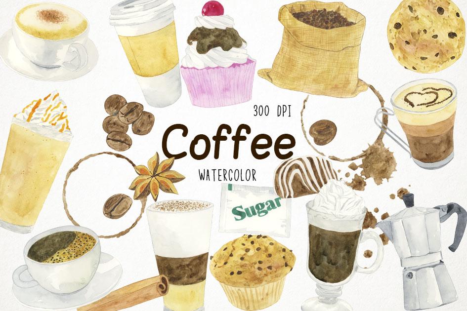 Watercolor Coffee Clipart, Coffee Clip Art, Coffee Lovers