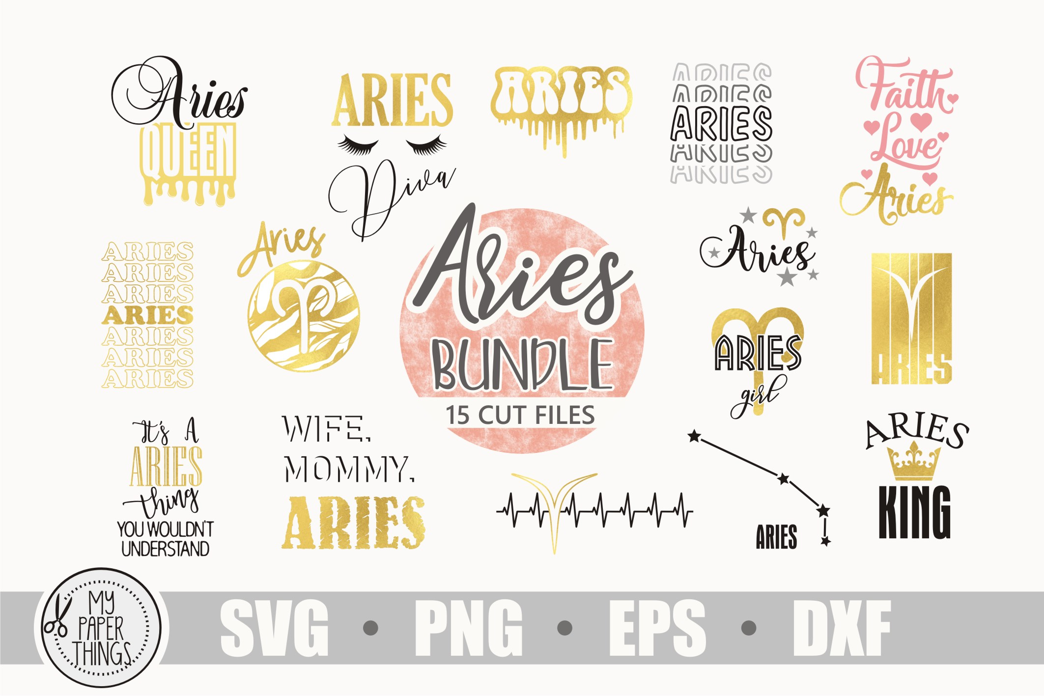 Aries svg bundle, Birthday svg, Zodiac sign example image 1