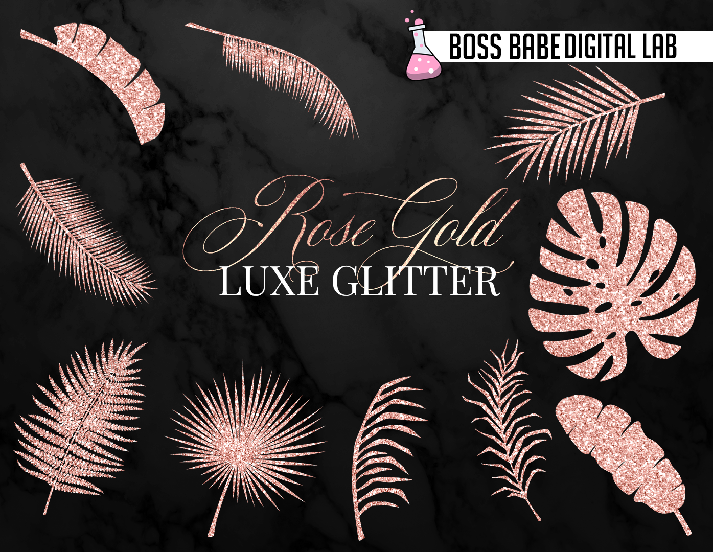 Rose Gold Tropical Leaves Clipart example image 4