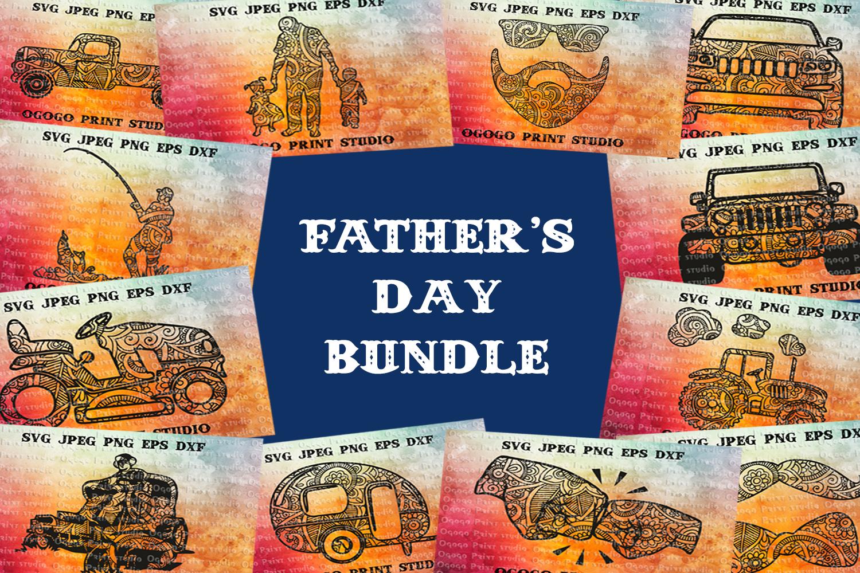 Fathers day BUNDLE, Mandala svg, Zentangle Svg, Boho svg example image 1