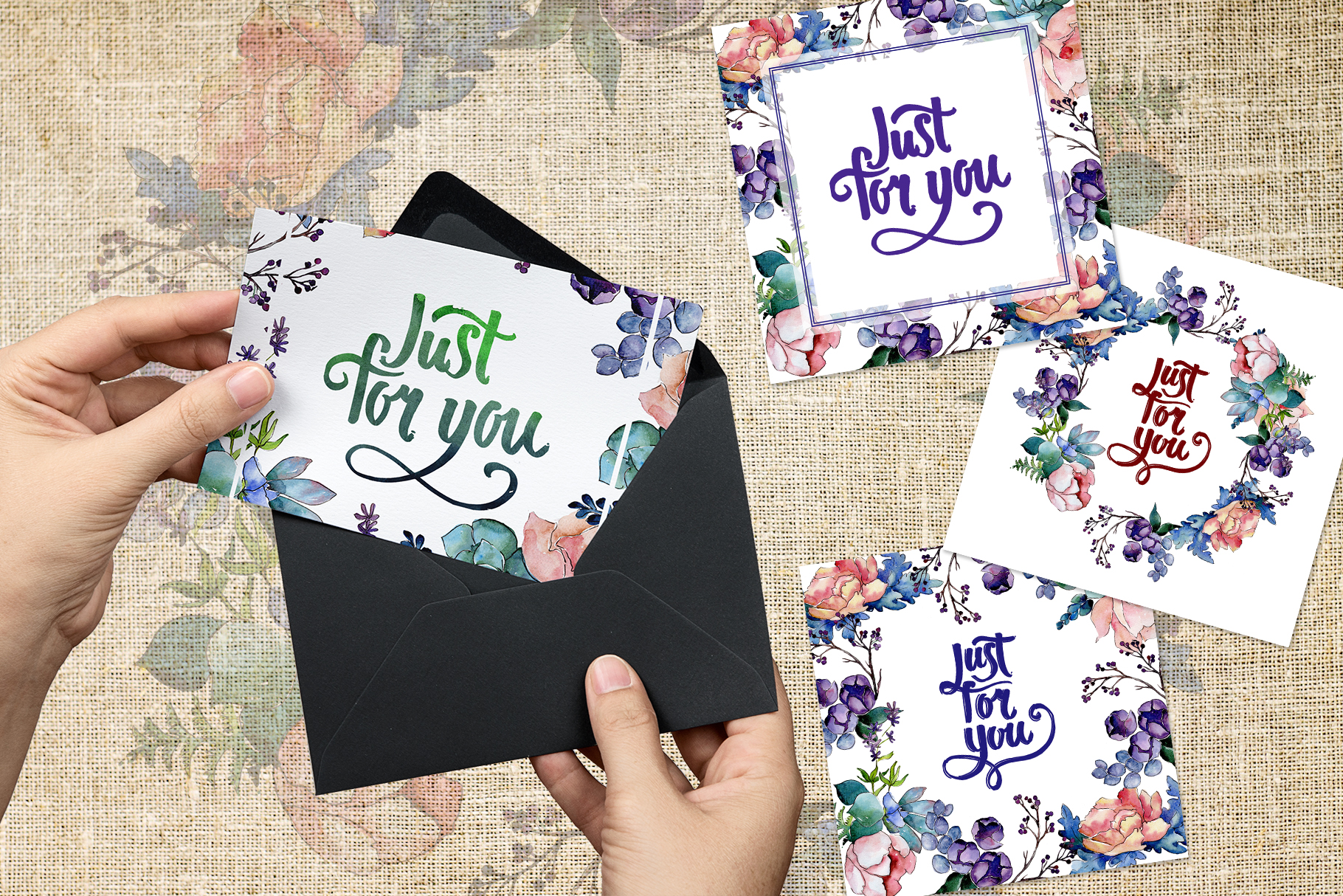 Watercolor bouquet PNG flower set example image 2