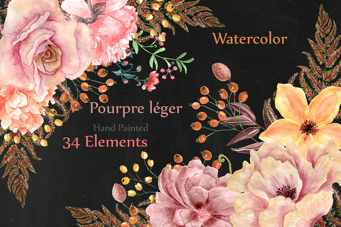 Watercolor flowers and wreaths example image 1