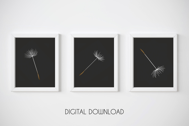 Dandelion Seed Print, Black Background Print, Botanical Art example image 1
