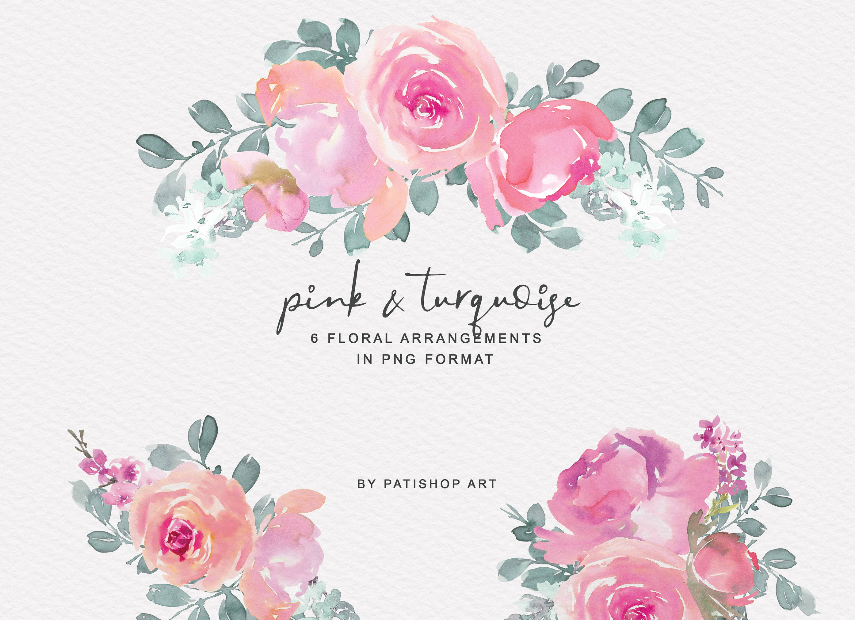 Pink and Turquoise Watercolor Floral Clipart Collection example image 3