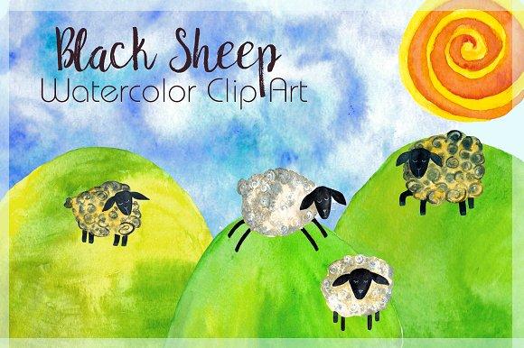 Baa Baa Black Sheep Watercolor Clipart example image 1