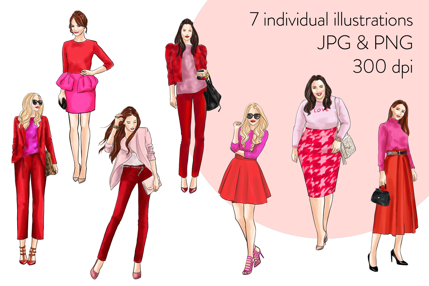 Fashion illustration clipart - Girls in Red and Pink - Light example image 2