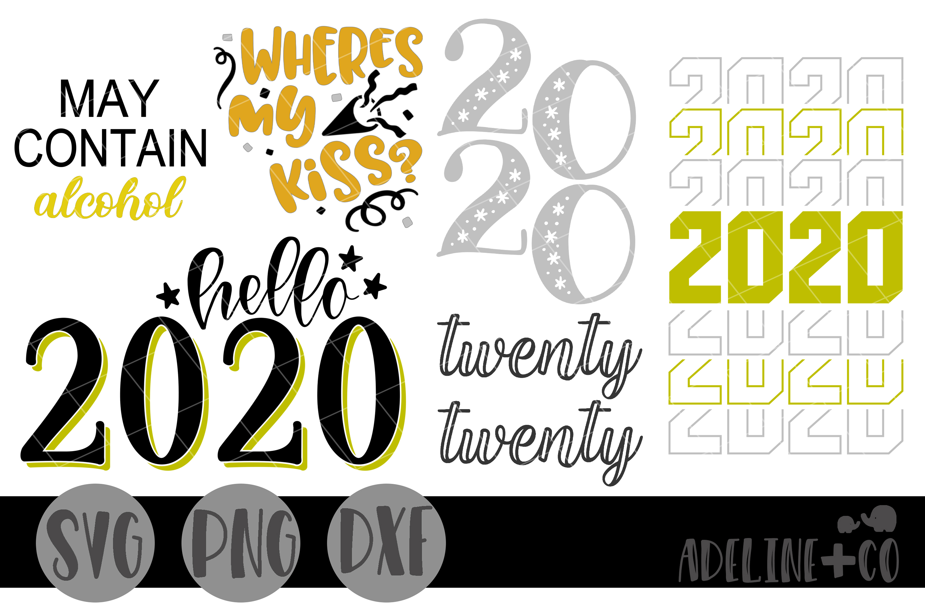 New Years bundle SVG PNG DXF example image 1