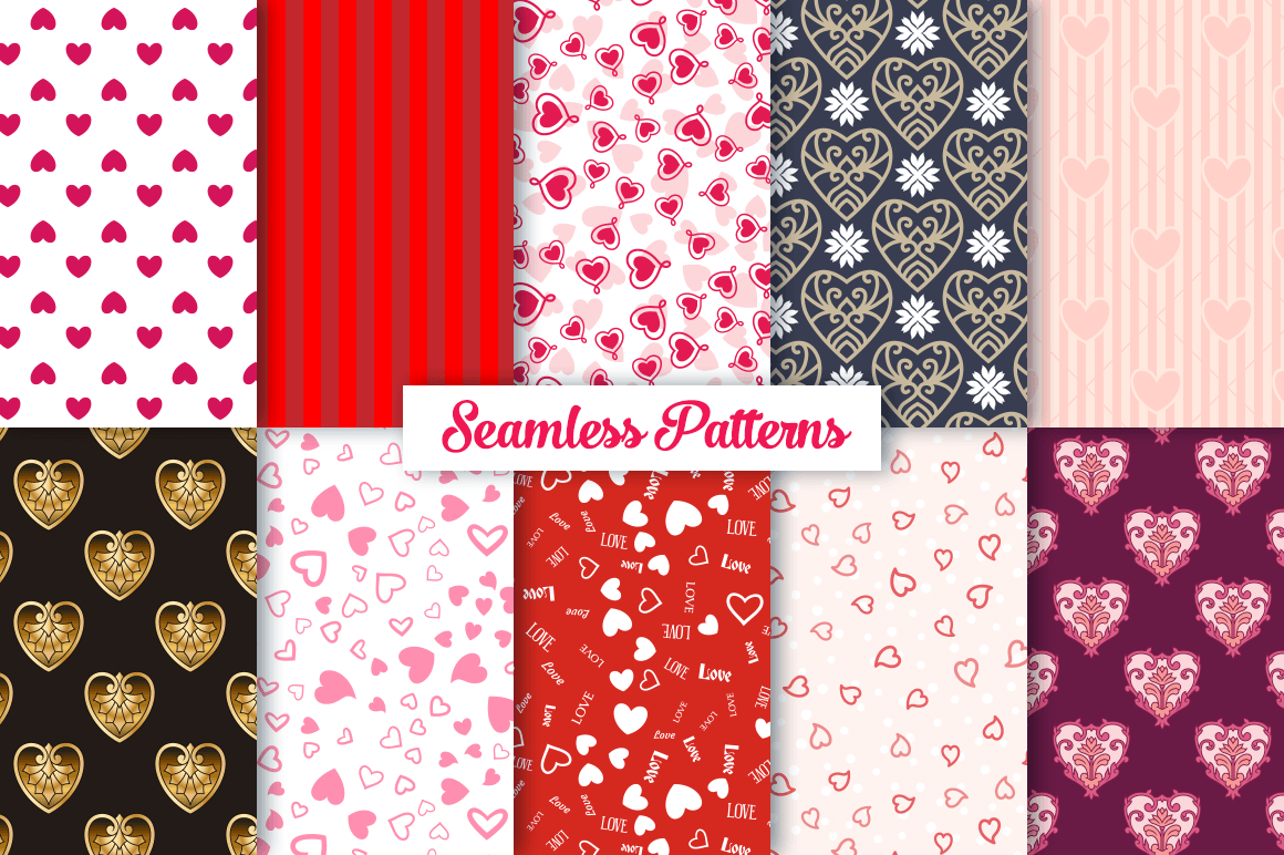 100 Heart Vector Ornaments and Seamless Patterns example image 3