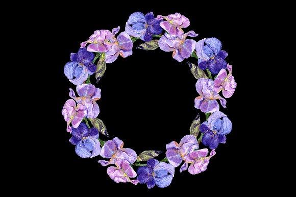 Watercolor Irises Clip Art + Print example image 3