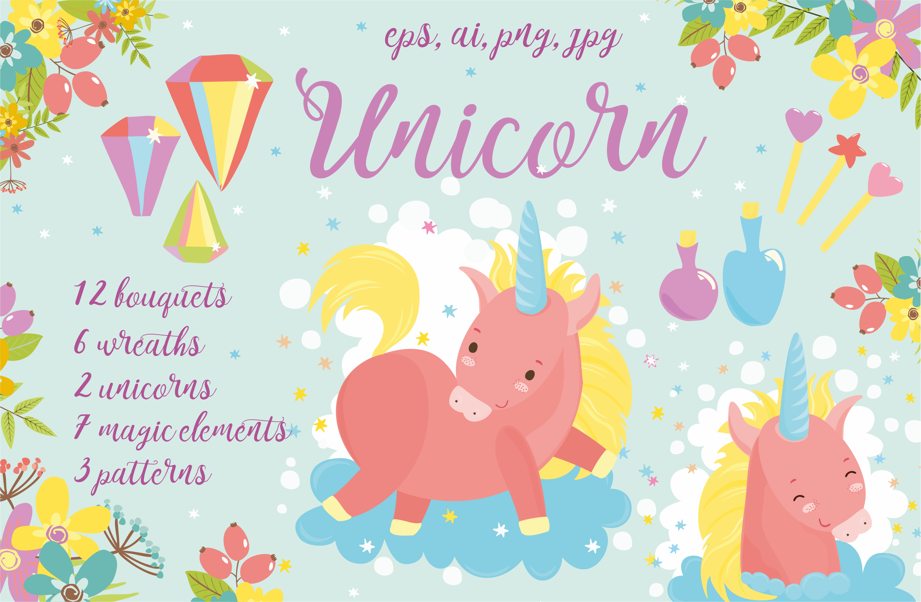 Magic Unicorns pattern and flowers example image 1