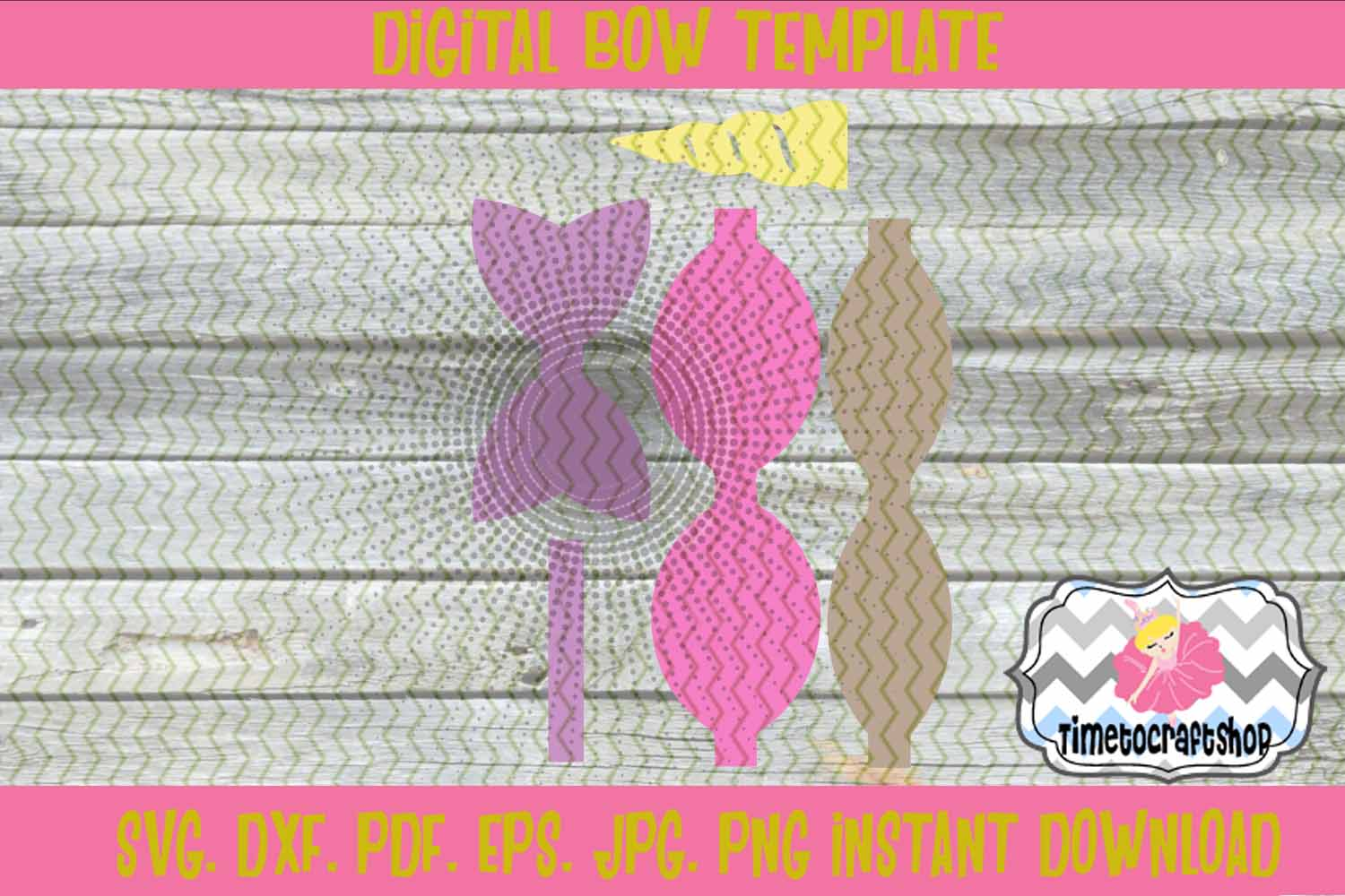 Unicorn Hair Bow Template. Svg. Dxf. Pdf. Eps. Jpg. Png example image 2