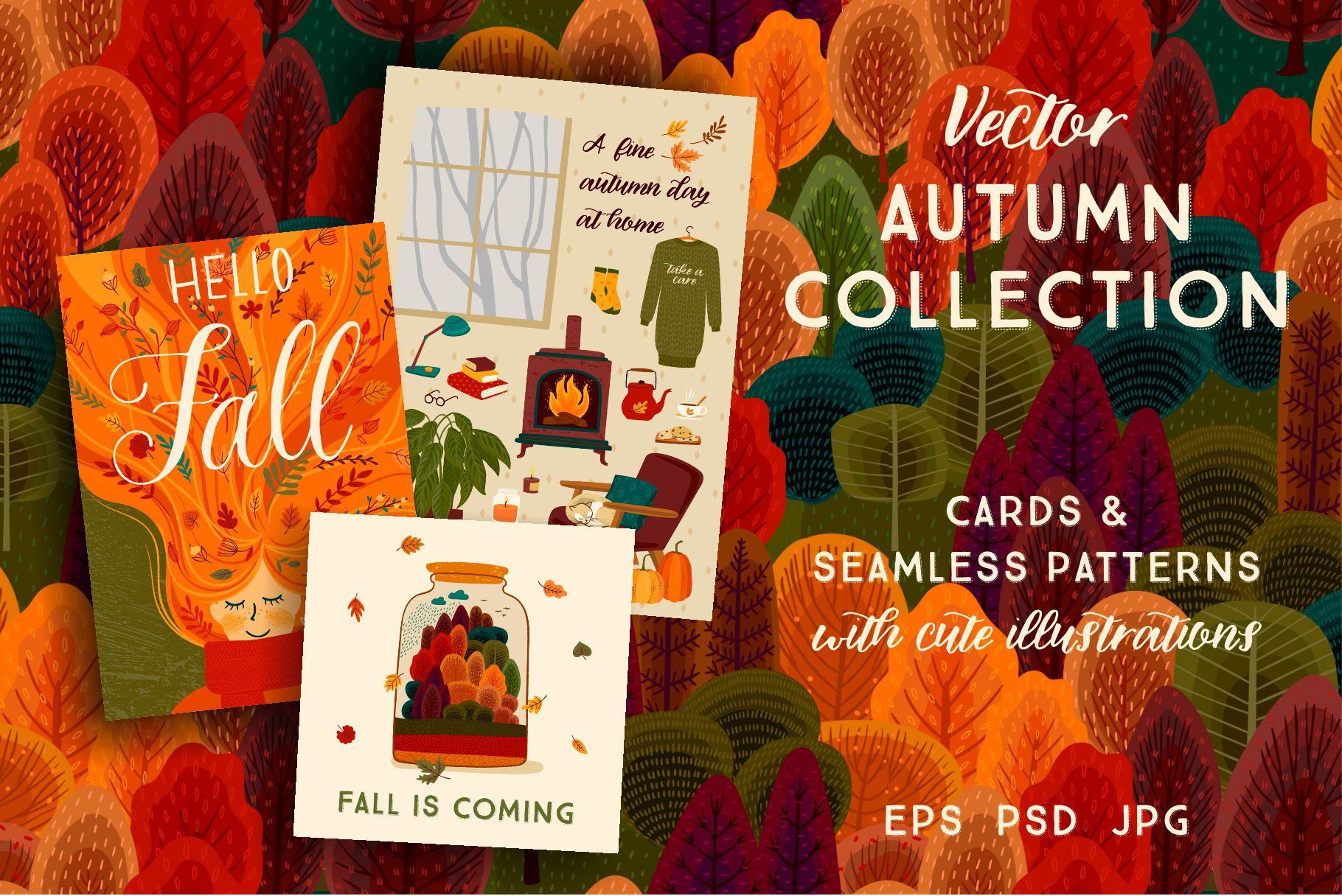 Autumn collection. Cards & patterns. example image 1
