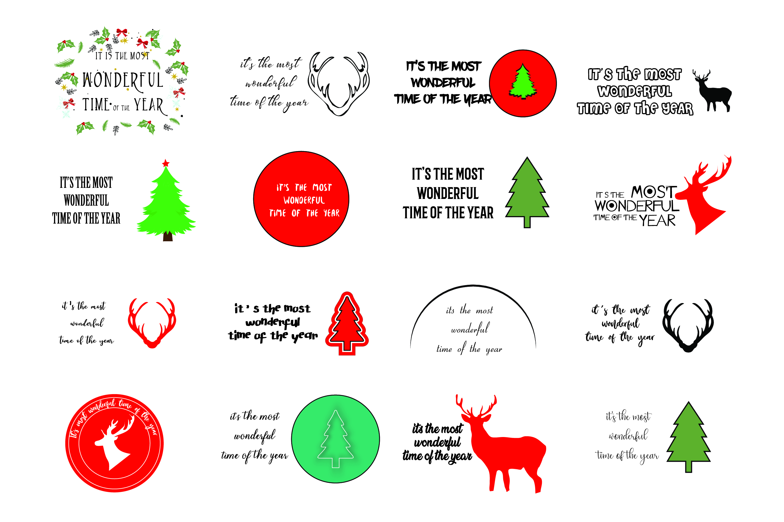 Wonderful time of the year - SVG Bundle 16 Designs example image 1
