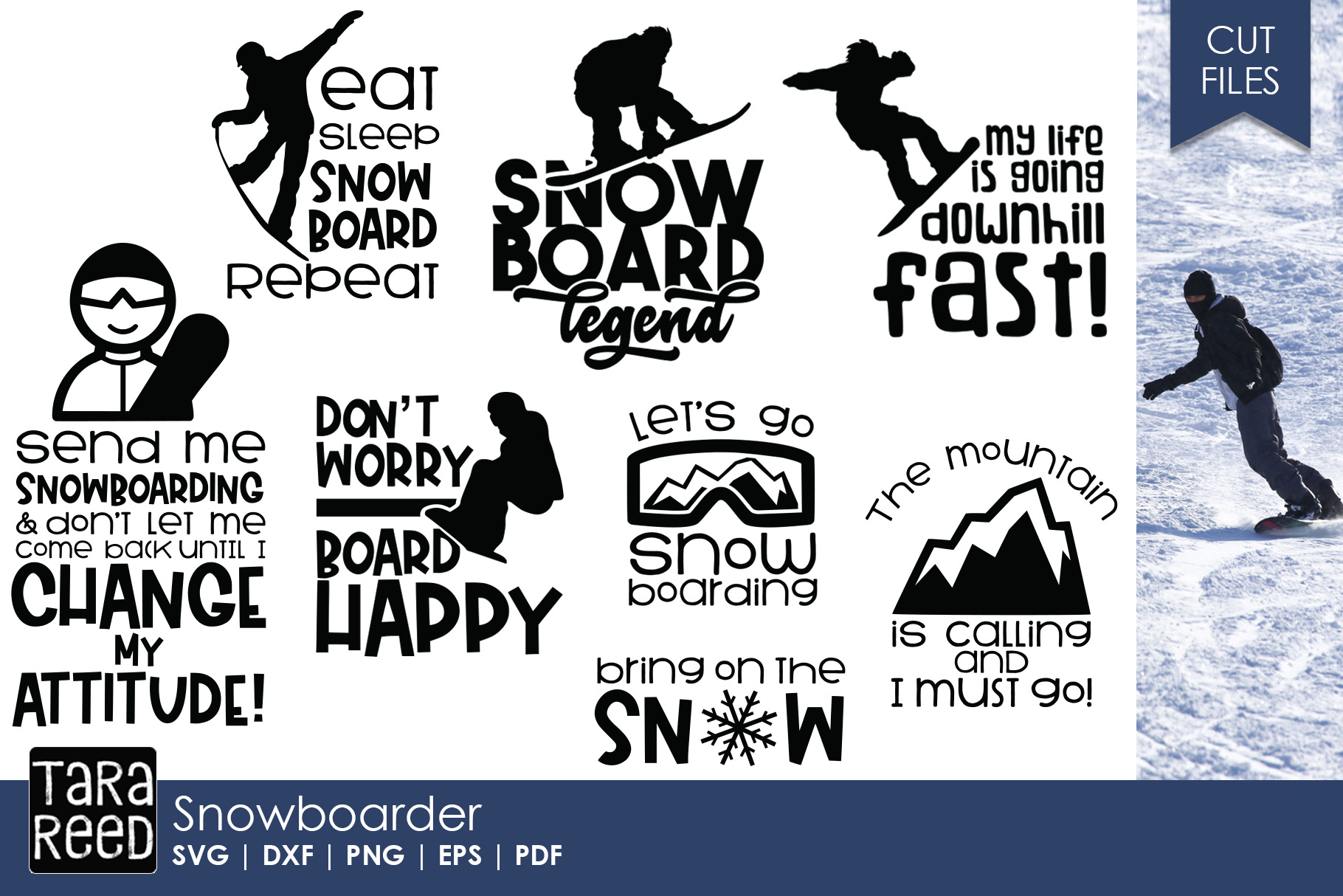 Snowboard Legend - Snowboarding SVG and Cut Files for Craft example image 1