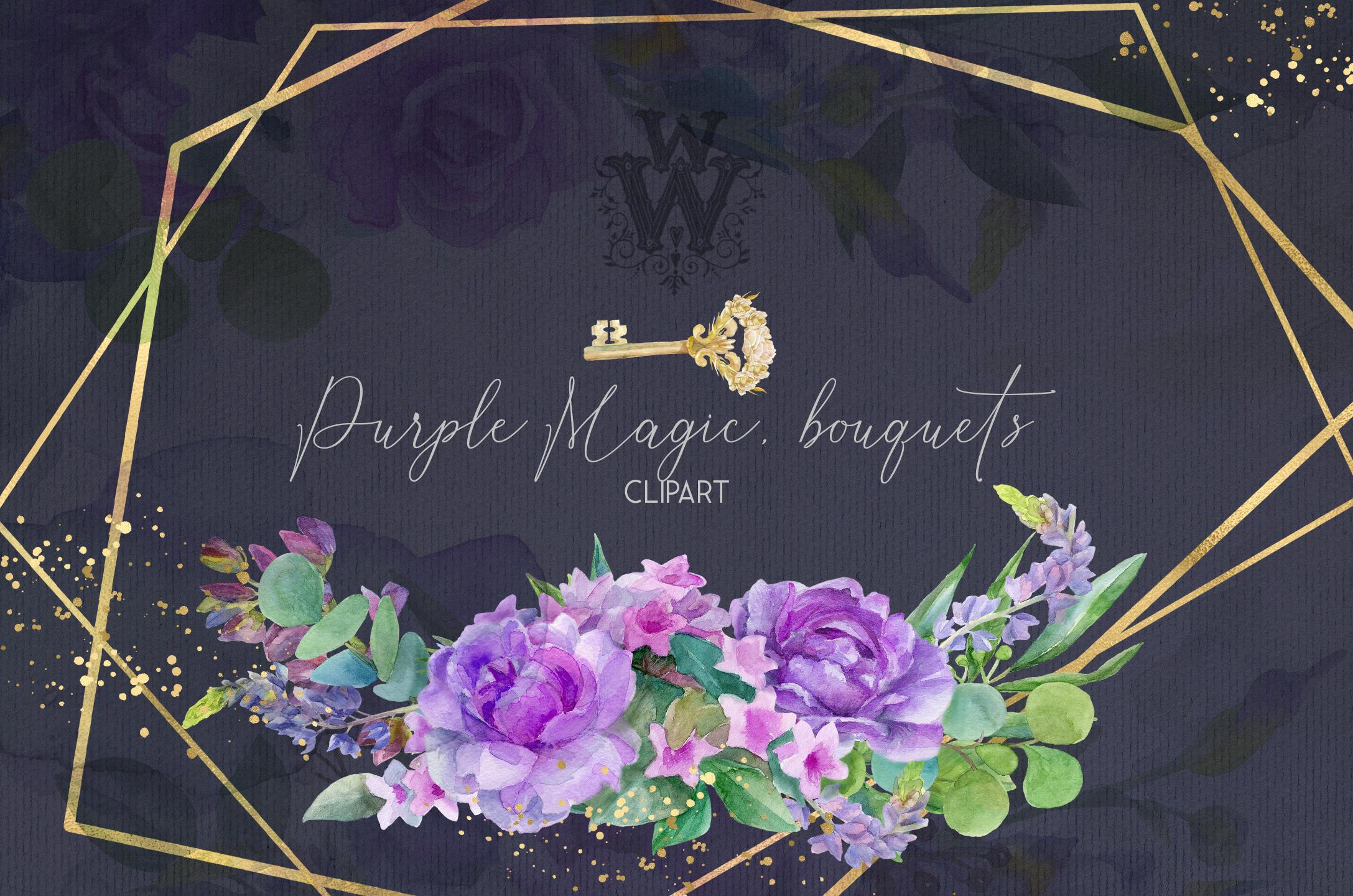 Watercolor purple bouquets clipart wedding arrangement example image 6