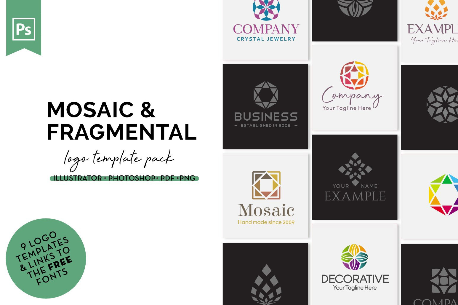 Mosaic & Fragmental Logo Design Set example image 1