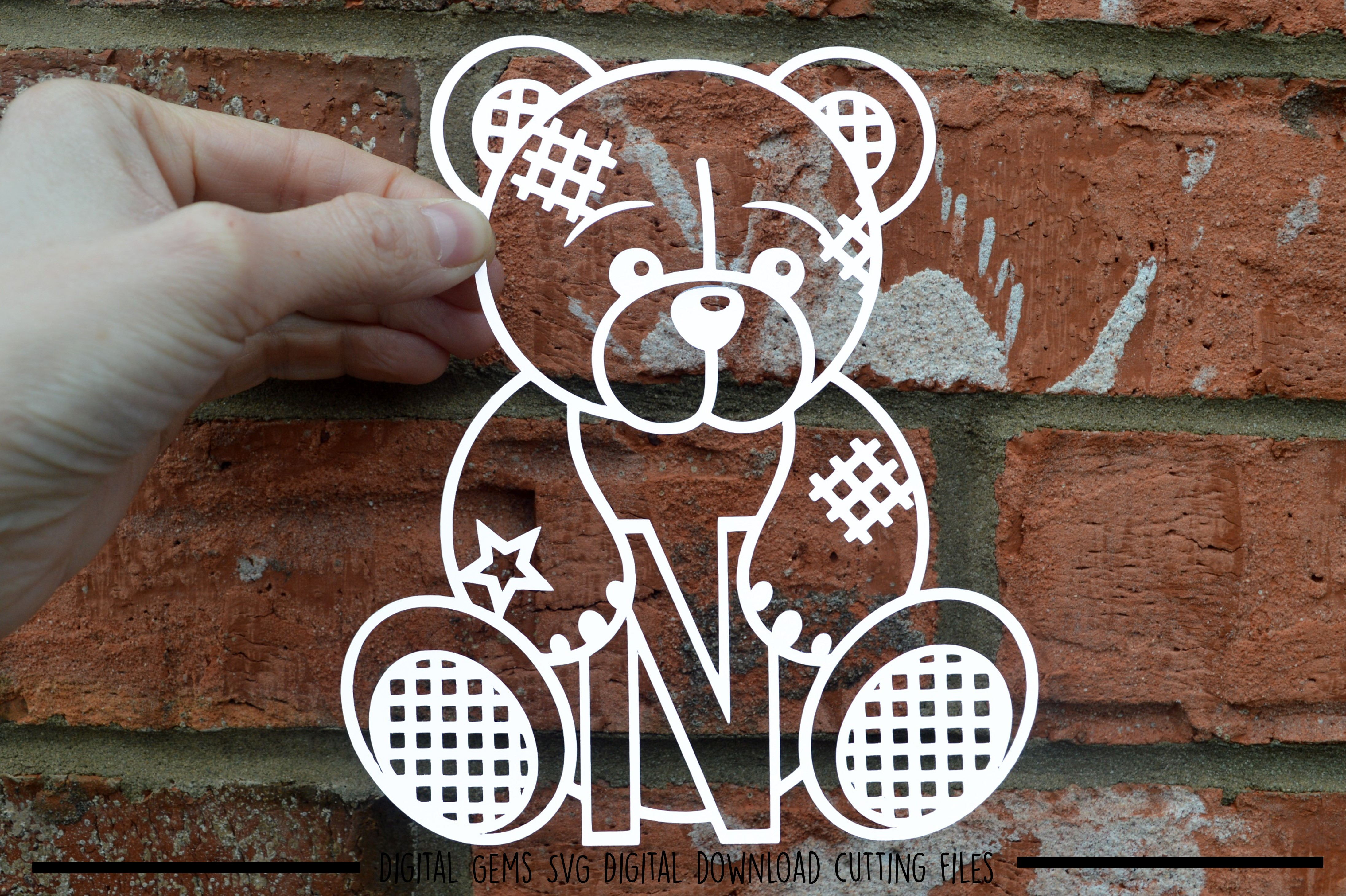 Alphabet teddy bear paper cuts SVG / DXF / EPS files example image 12