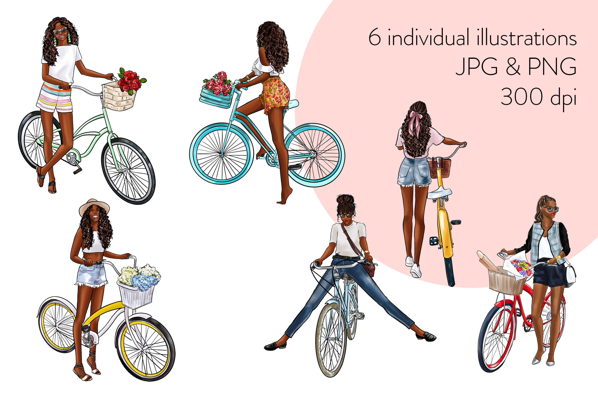 Fashion illustration clipart - Girls with Cycle - Dark Skin example image 2
