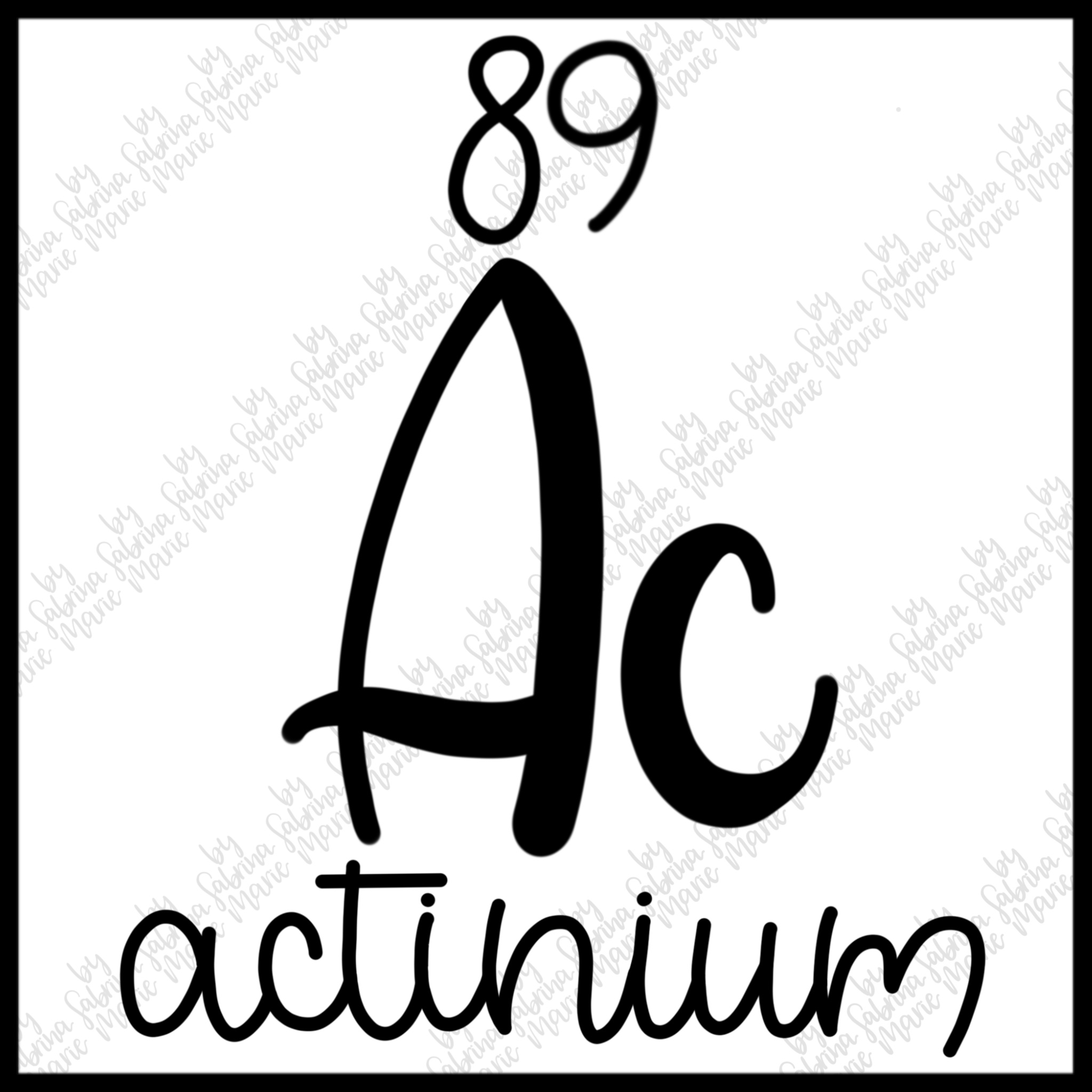 89 Actinium - Handdrawn Periodic Table Element - SVGPNG