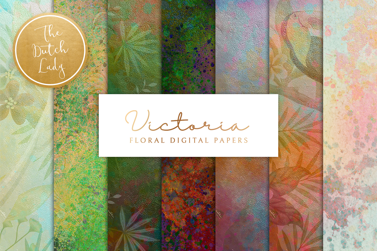 Floral Backgrounds & Paper Designs - Victoria example image 1