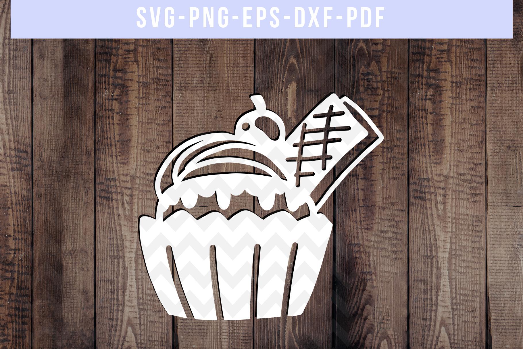 Waffel Cupcake Papercut Template, Birthday Cut File SVG PDF example image 1