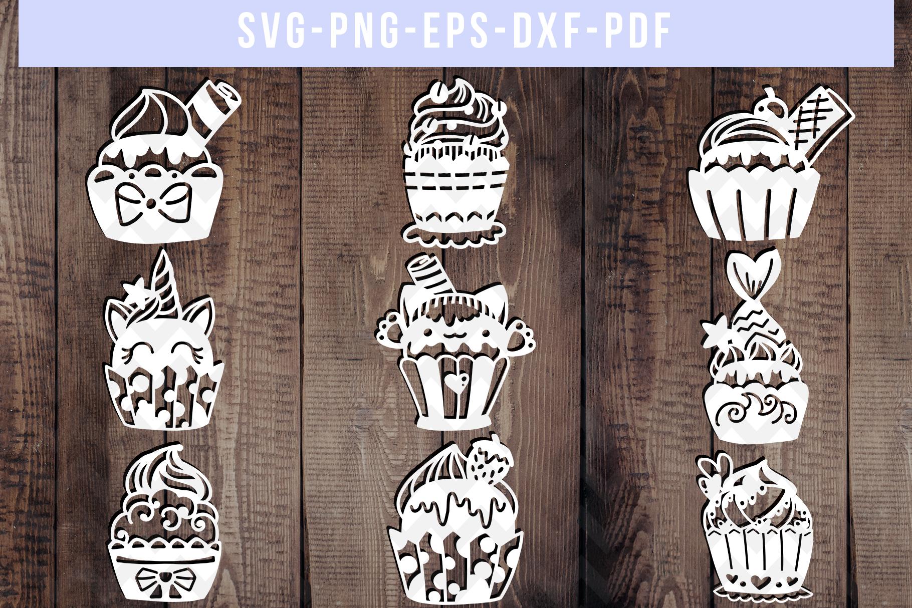 Bundle Of 9 Cupcake Papercut Templates, SVG Cutting File PDF example image 1