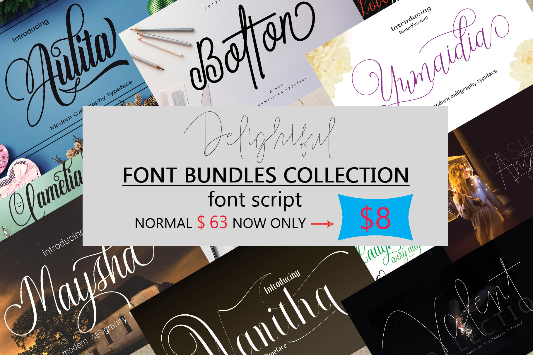 DELIGHTFUL FONT BUNDLES COLLECTION example image 1