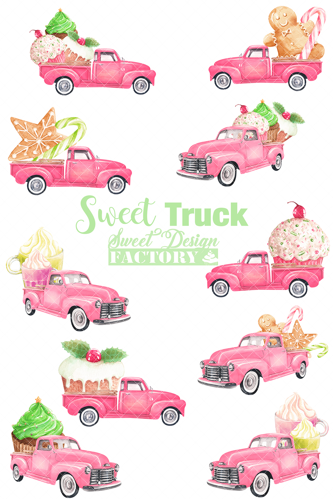 Watercolor Christmas pink pick-up cliparts example image 2