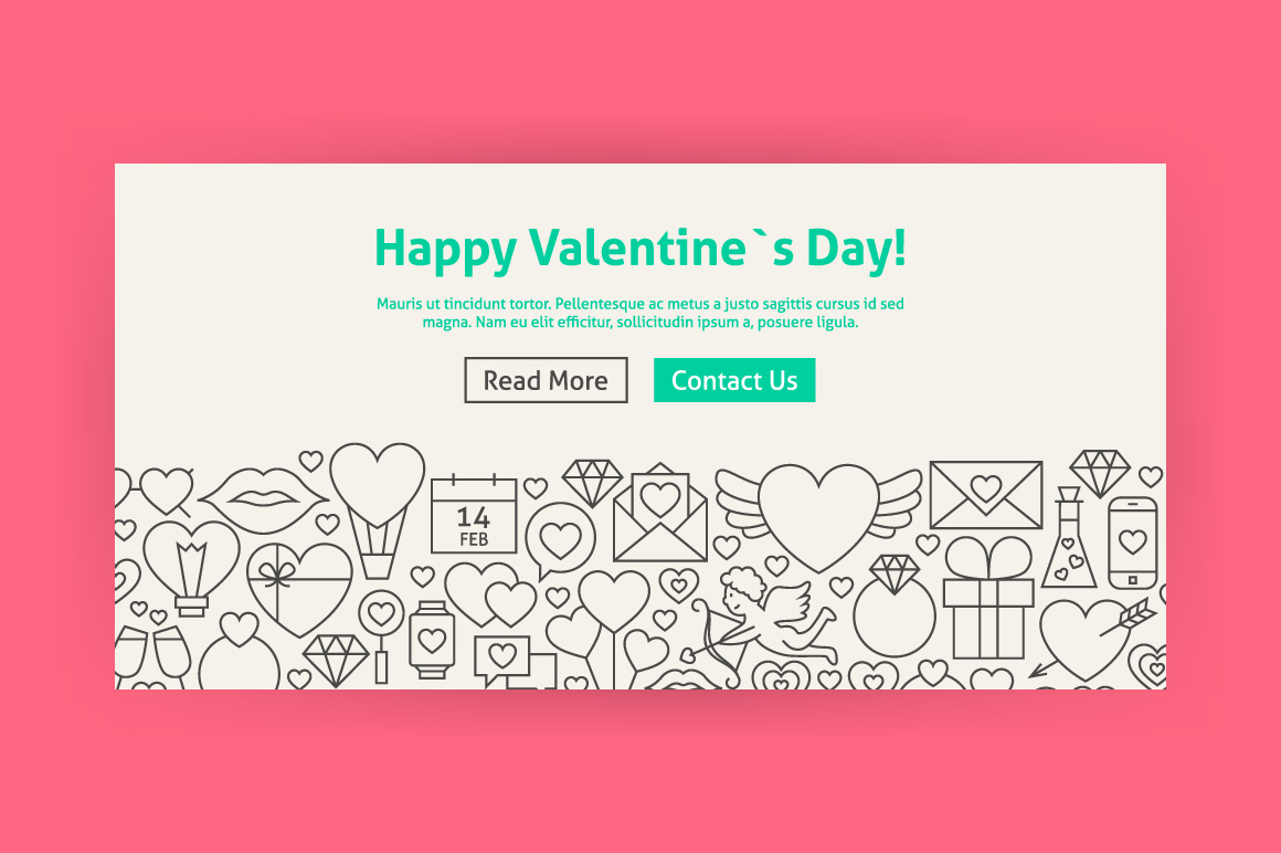 Valentine's Day Line Art Web Banners example image 3