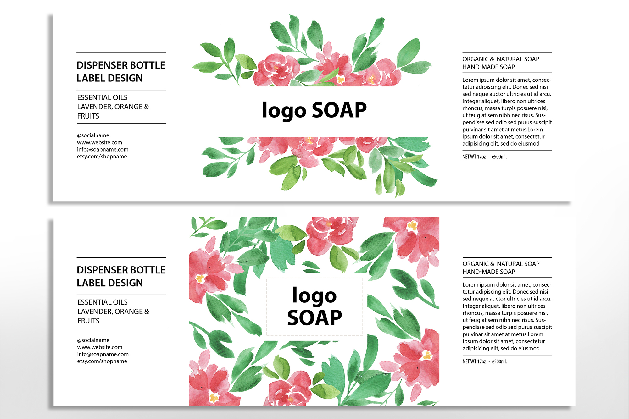 Soap label editable layer template PSD example image 3
