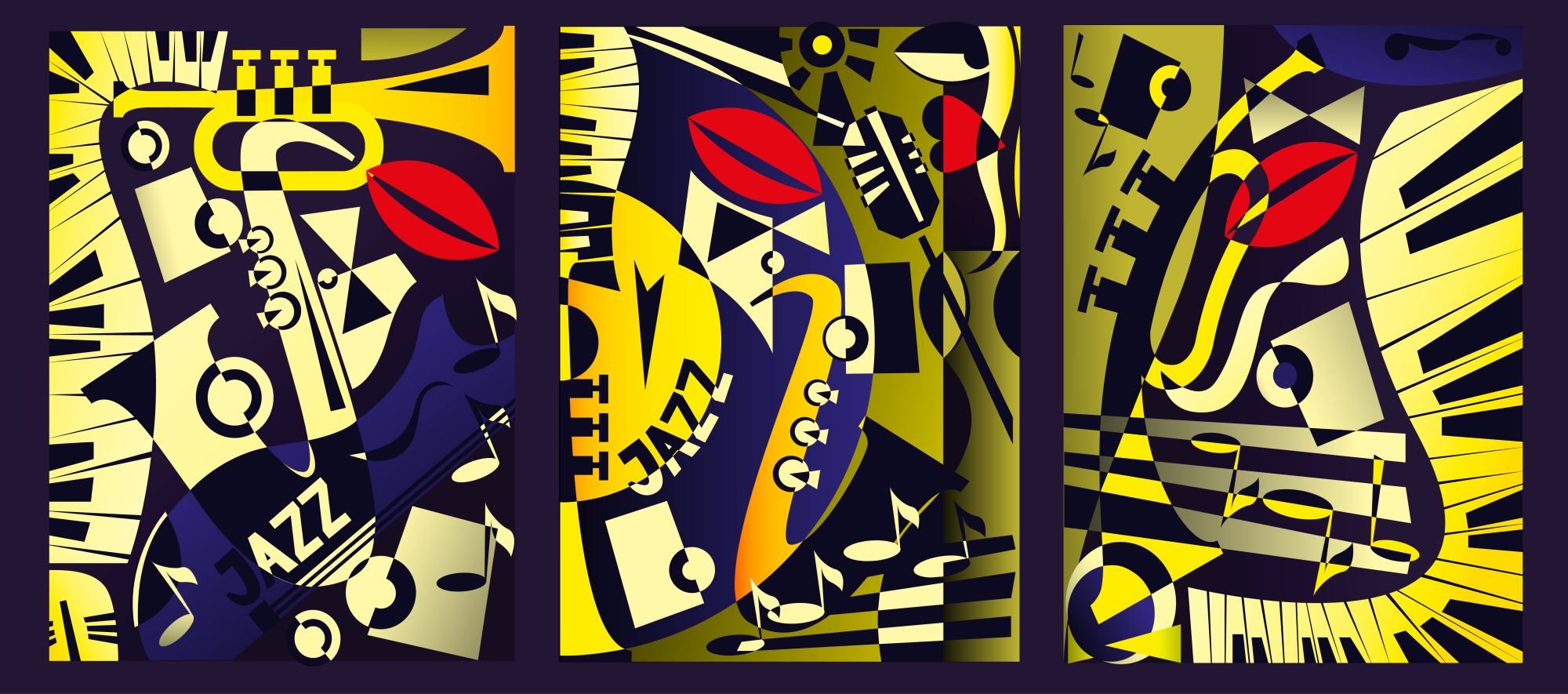 Triptych painting - jazz music in retro geometric abstraction style. Vector illustration example image 2