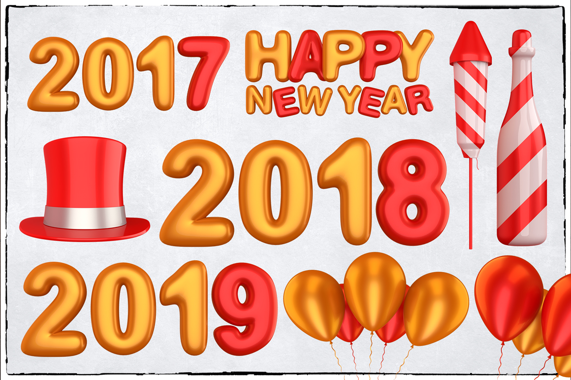 New Year 3D PNG Items Pack example image 12