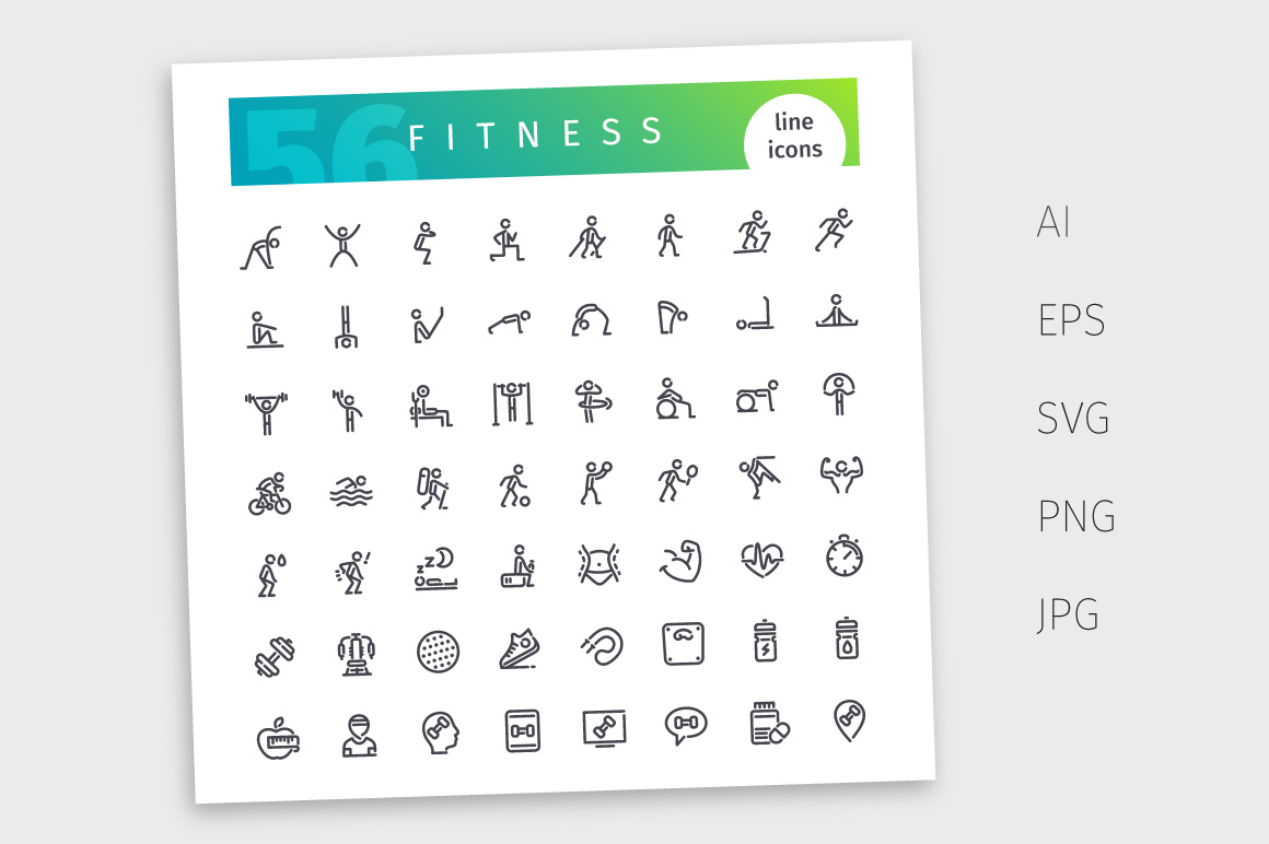 Fitness Line Icons Set example image 4