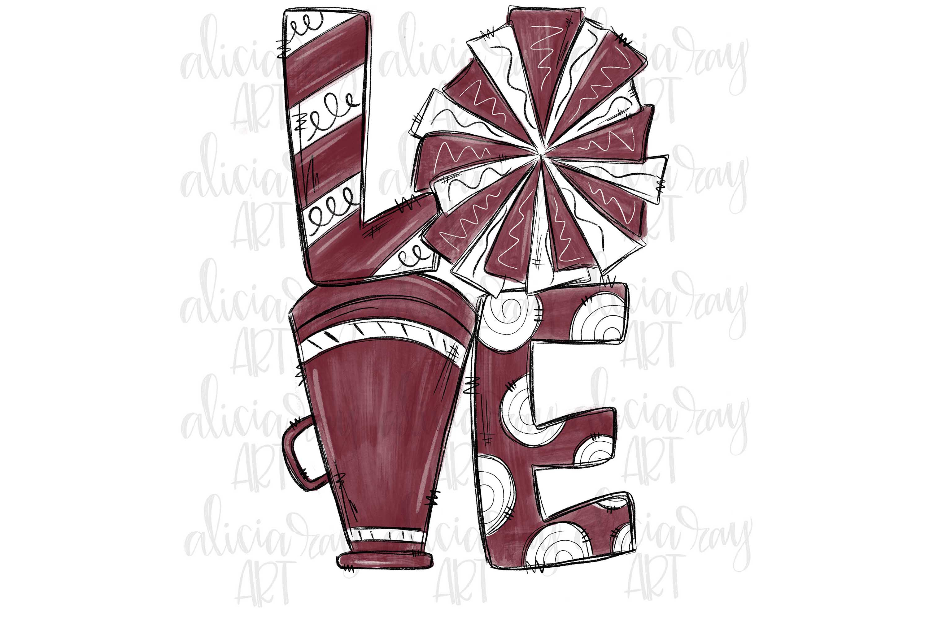 Cheer Love Maroon and White example image 1