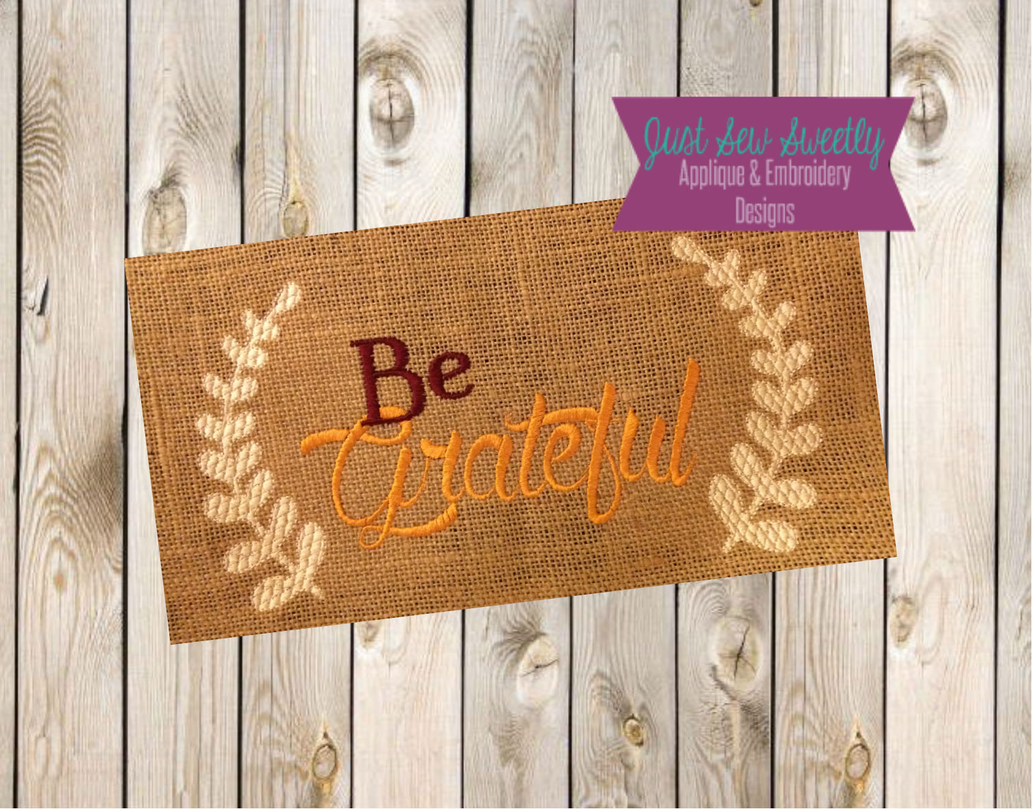 Thanksgiving Be Grateful Sketch Applique Embroidery Design example image 2