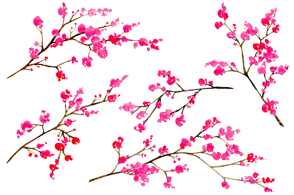 Watercolor floral branches, 10 png example image 2